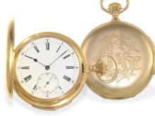 Pocket watch: big gold huntingcase watch with minute repetition, excellent quality, Edouard Gasser Geneve, ca. 1890 (NO LIVE FEE)
