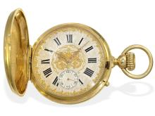 Pocket watch: Very fine Geneva gold huntingcase watch with chronometer escapement, made for Spanish market 1878 (NO LIVE FEE)
