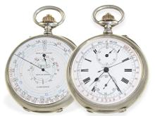 Pocket watch: extremely rare double-face Longines chronograph, ca. 1890 (NO LIVE FEE)