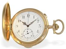 Pocket watch: Heavy and very big gold huntingcase watch with repetition and chronograph, Switzerland ca. 1900 (NO LIVE FEE)