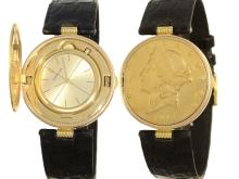 Wristwatch: rare Corum coin watch with huntercover, 18 K gold $20 USA, 70s/ 80s (NO LIVE FEE)