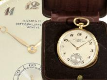 Pocket watch: exquisite dress watch Patek Philippe Geneve for Tiffany New York, with original box (NO LIVE FEE)