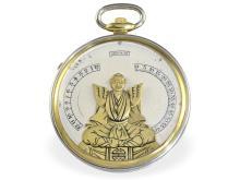 Pocket watch: Rarity, 'Bras-en-l'air' automaton ca. 1930, gold/platinum, Verger Freres Paris/Haas Neveux Geneva (NO LIVE FEE)