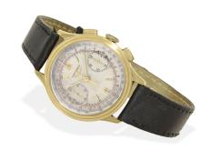 Wristwatch: Early and very rare gold chronograph by Longines, 13ZN, from 1943 (NO LIVE FEE)