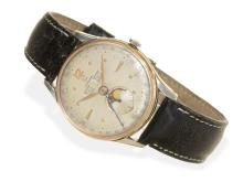 Wristwatch: popular vintage calendar watch Omega 'Cosmic', rare stainless steel/pink gold case, 1948 (NO LIVE FEE)