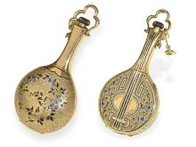 Pendant watch/ chain watch: Rare Geneva mandoline, gold/enamel, Perret & Cie Geneve ca. 1890 (NO LIVE FEE)