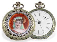 Pocket watch: exquisite and very rare enamel pocket watch for Chinese market, unrestored original condition, ca. 1860 (NO LIVE FEE)