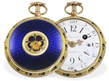 Pocket watch: Splendid gold/enamel verge watch with repetition, Jean Baptiste Baillon, ca. 1760, Royal watchmaker (NO LIVE FEE)