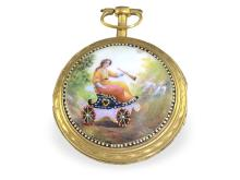 Pocket watch: Big Geneva verge watch with very fine enamel painting, Freres Wiss & Menu a Geneve, ca. 1780 (NO LIVE FEE)