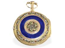 Pocket watch: very fine gold/enamel verge watch with jewels, Jacques Coulin & Ami Bry a Geneve, 1784-1800 (NO LIVE FEE)