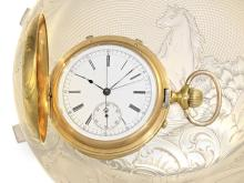 Pocket watch: Very complex and rare gold huntingcase watch with minute repetition and split seconds chronograph, Switzerland/USA 1880/1900 (NO LIVE FEE)