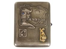 Very rare Art Nouveau cigarette box, Moscow silver punch 1896- 1908, maker's punch SCH(cyrlillic).M.A, silver and gold (NO LIVE FEE)