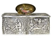 Fine repoussé singing bird box/automaton, silver, ca. 1900 (NO LIVE FEE)