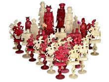 Rarity: Ivory chess Kanton/ China, 1st half of 18th-century, extravagant big figures (NO LIVE FEE)