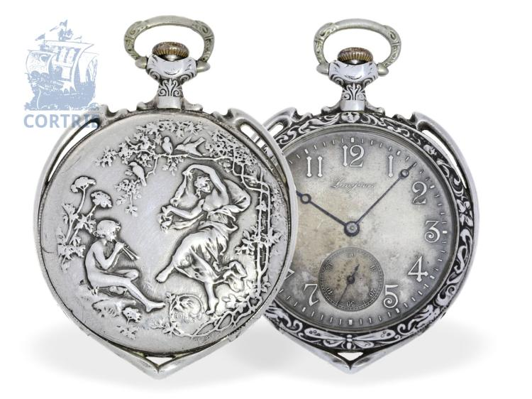 Pocket watch: very beautiful and extremely rare Longines Art Nouveau pocket watch with signed relief case, heart shape, Longines ca. 1910 (NO LIVE FEE)