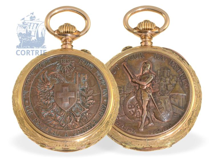 Pocket watch: extremely rare and early marksmen watch 'Tir Federal a Geneve 1887', Ankerchronometer F. Perrenoud Geneve 1887 (NO LIVE FEE)