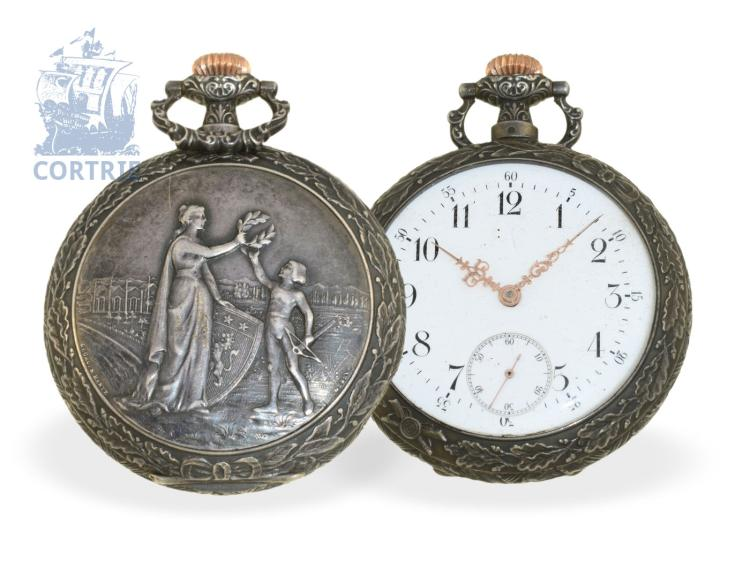 Pocket watch: very rare Art Nouveau marksman watch, Lyon Mai 1897, SA Louis Brandt & Frère - Omega Watch Co. (NO LIVE FEE)