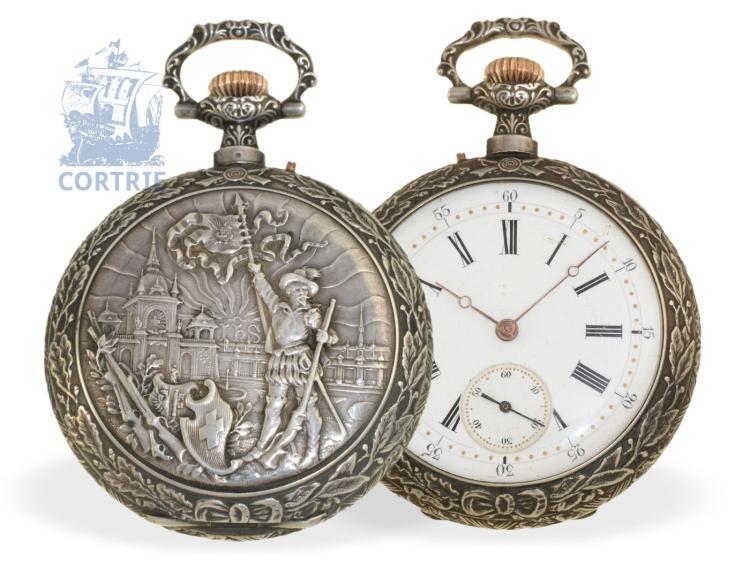 Pocket watch: rare Geneva marksmen watch 'Grand Tir De Geneve 1896', Omega/Louis Brandt & Frères 1896 (NO LIVE FEE)