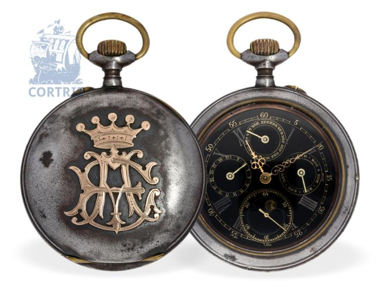 Pocket watch: very interesting astronomical pocket watch from Russian nobleman, with black enamel dial, ca. 1900 (NO LIVE FEE)