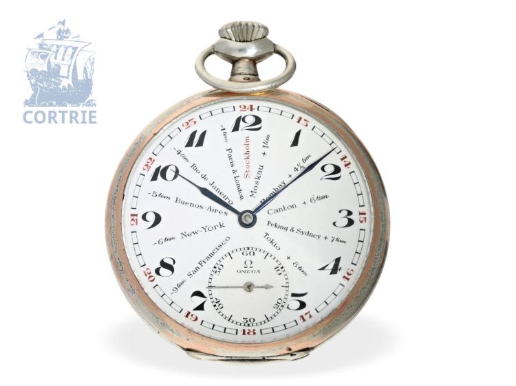 Pocket watch: very rare Omega pocket watch with world timer dial, ca. 1925 (NO LIVE FEE)