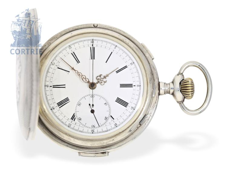 Pocket watch: big and heavy silver hunting case repeater with chronograph, Henry Moser & Cie. Le Locle & St. Petersburg Qualité Boutte, ca. 1900 (NO LIVE FEE)