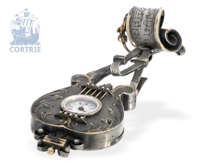 Pendant watch/brooch watch: very rare chatelaine watch 'Lyra', silver & gold, Switzerland ca. 1850 (NO LIVE FEE)