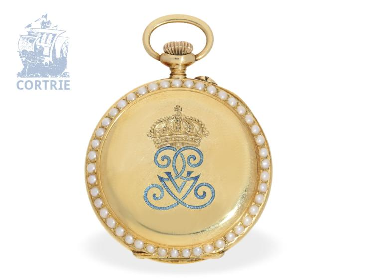 Pocket watch/pendant watch: exquisite gold/enamel ladies watch with pearls, present watch by the Swedish Royals, ca. 1900 (NO LIVE FEE)