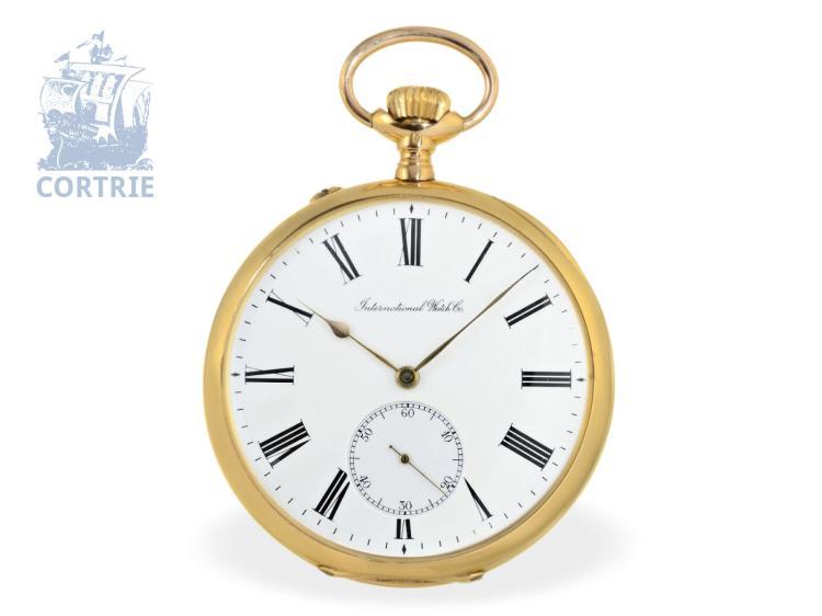 Pocket watch: extravagant and very big gentlemen's watch by IWC Schaffhausen, 18 K gold, Schaffhausen 1910 (NO LIVE FEE)