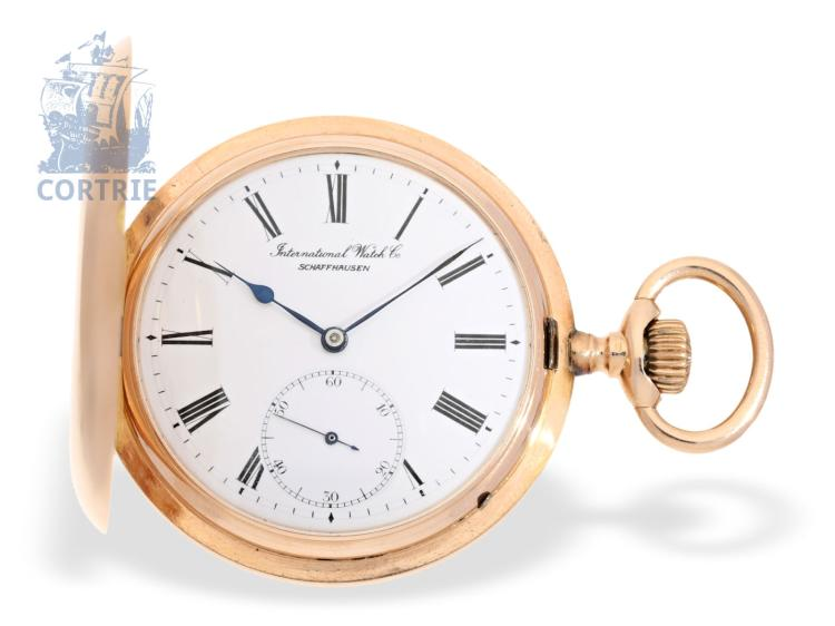 Pocket watch: nearly like new pink gold IWC hunting case watch, heavy edition, Schaffhausen ca. 1906 (NO LIVE FEE)