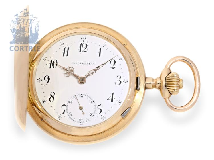 Pocket watch: heavy gold hunting case watch with unusual detent escapement, Beyersdorf Freres Qualité Supérieure, ca. 1900 (NO LIVE FEE)