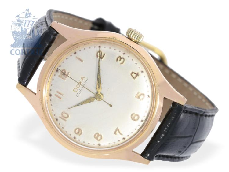 Wristwatch: historical interesting gentlemen's watch, Doxy automatic, present watch on the occasion of the 1st win of the Soccer World Championship 'Championnat du Monde de Football 1954' for the German players (NO LIVE FEE)