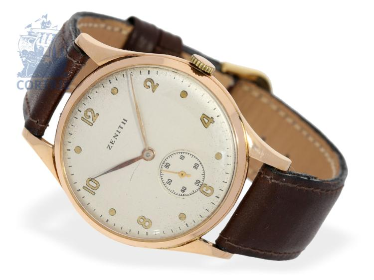 Wristwatch: very big gentlemen's watch by Zenith, from the 40s, 18 K pink gold (NO LIVE FEE)