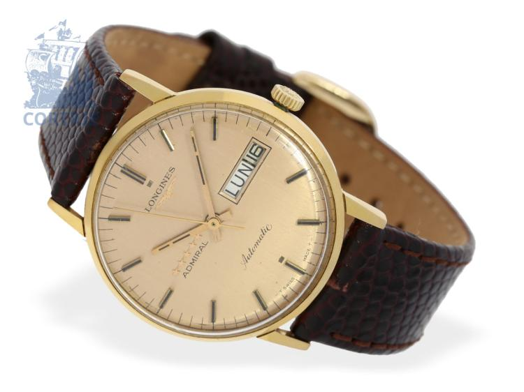 Wristwatch: vintage gentlemen's watch Longines Admiral Day-Date Automatic, 18 K gold, from the 60s (NO LIVE FEE)