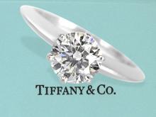 Ring: sehr hochwertiger Tiffany Brillant-Solitärring in Platin, mit Originalbox und kompletten Papieren, 1,05ct Wesselton/VS 1 (NO LIVE FEE)