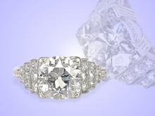 Ring: Art Deco Platin-Solitärring mit einem großen Diamanten in Spitzenqualität, ca. 1,65ct (NO LIVE FEE)