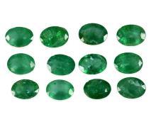 Konvolut von 12 natürlichen Smaragden von zusammen 12,88ct (NO LIVE FEE)