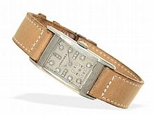 Wristwatch: Extremely rare Art Deco gentlemen's watch with diamond dial and palladium case, Longines ca. 1945