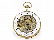Pocket watch: Big skeletonized double-face verge watch with repetition, excellent condition, Romilly Paris ca. 1820