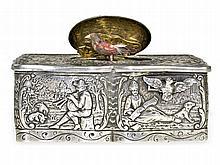 Fine repoussé singing bird box/automaton, silver, ca. 1900