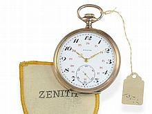 Pocket watch: Unused Zenith pocket watch with original bag and original label, ca. 1915
