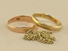 Ring/Armband: 2 goldene Ringe und 1 Armband, vintage