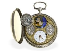 Pocket watch: very rare and big verge watch with hidden erotic scene and decentralized dial, signed Girardier Laine, ca. 1810 (NO LIVE FEE)