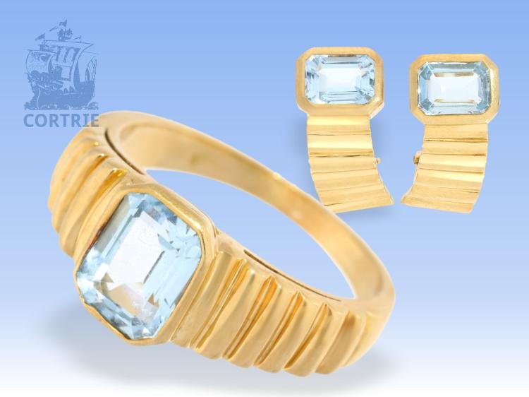 Ohrclips/Ring: klassisches, handgearbeitetes vintage Schmuckset mit blauen Farbsteinen