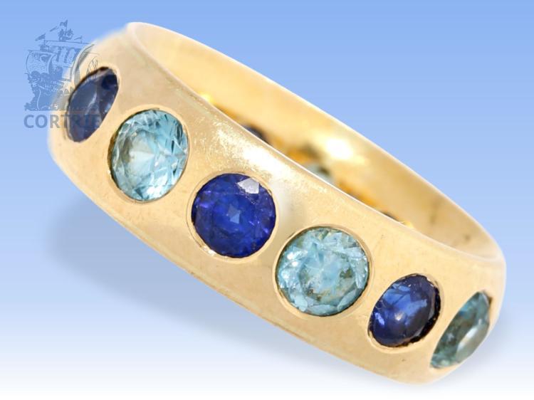 Ring: ausgefallener vintage Memoire-Ring mit blauen Farbsteinen