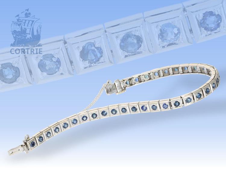 Armband: sehr schönes, weißgoldenes Saphir-Armband, Tennisarmband mit ca.3ct Saphiren!