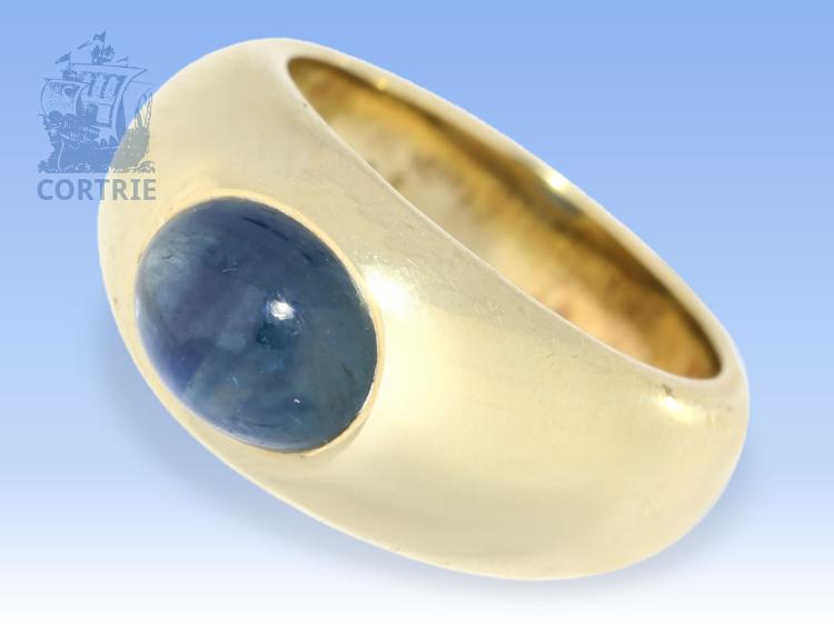 Ring: ehemals sehr teurer, massiver Bandring mit Saphir von 3,56ct