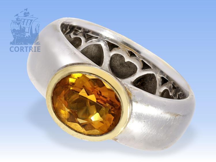 Ring: exklusiver Goldschmiedering mit Citrin