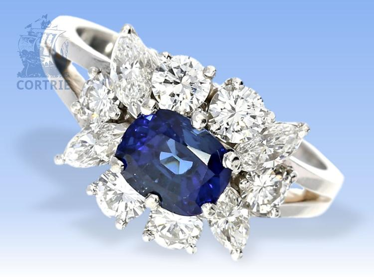 Ring: exklusiver Saphir/Brillantring von feinster Qualität, Platin, Goldschmiedeanfertigung
