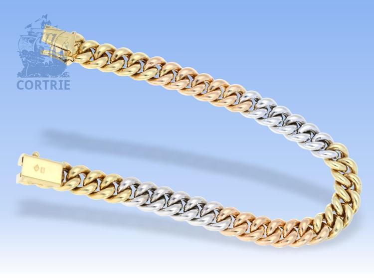 Armband: dekoratives, goldenes Tricolor-Panzerarmband