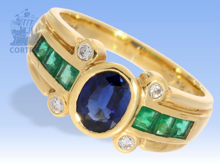 Ring: hochfeiner Goldschmiedering mit hochwertigem Steinbesatz, Markenschmuck